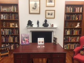 book shelves in the Sherlock Holmes room